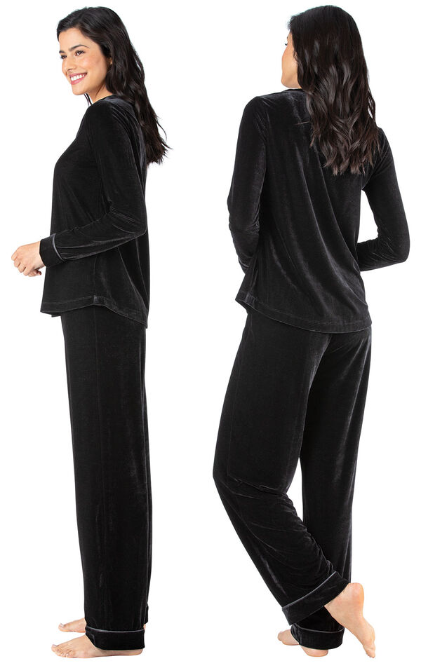 Model wearing Black Velour PJ with Satin Trim for Women, facing away from the camera and then to the side image number 1