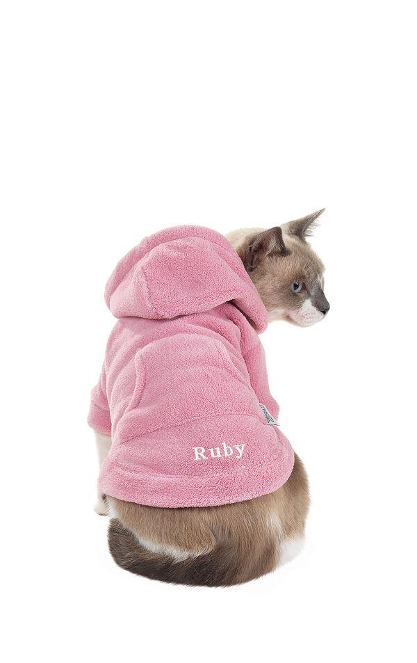 Model wearing Hoodie-Footie - Pink Fleece for Cats image number 0