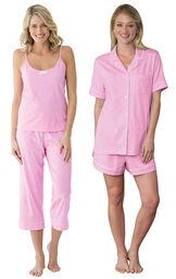 Models wearing Classic Polka-Dot Capri Pajamas - Pink and Classic Polka-Dot Short Set - Pink. image number 0