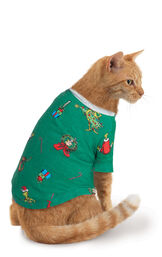 Model wearing Green and Gray Grinch PJ for Cats