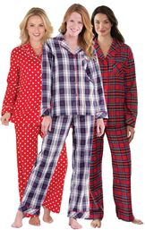 Models wearing Snowfall Plaid Boyfriend Pajamas, Polka-Dot Boyfriend Flannel Pajamas - Red and Stewart Plaid Flannel Boyfriend Pajamas.