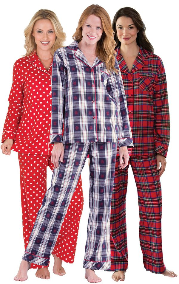 Models wearing Snowfall Plaid Boyfriend Pajamas, Polka-Dot Boyfriend Flannel Pajamas - Red and Stewart Plaid Flannel Boyfriend Pajamas. image number 0