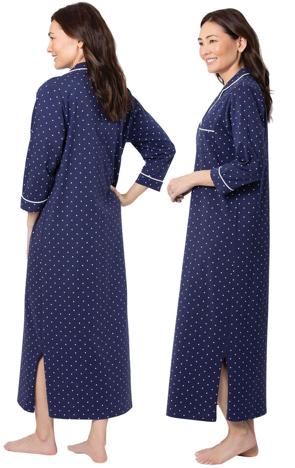 Model wearing Navy Blue and White Polka Dot Gown for Women, facing away from the camera and then to the side image number 1