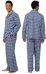 Model wearing Blue Gingham Button-Front PJ for Men, facing away from the camera and then facing to the side image number 1