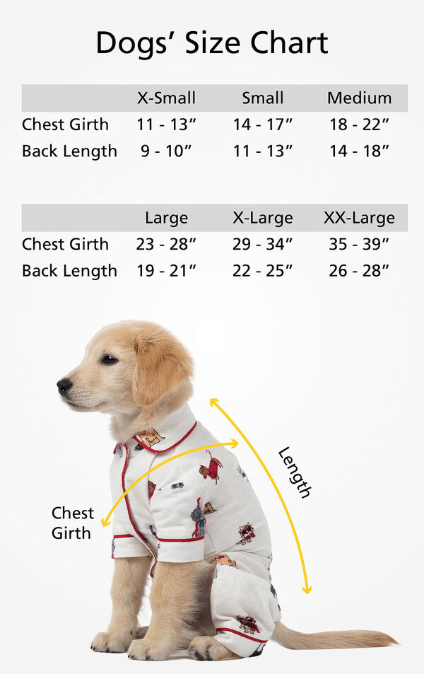 "Dog Sizes XS (Chest Girth 11-13""/Back Length 9-10""), SM (Chest Girth 14-17""/Back Length 11-13""), MD (Chest Girth 18-22""/Back Length 14-18""), LG (Chest 23-28""/Back Length 19-21""), XL (Chest 29-34""/Back Length 22-25""), XL (Chest 35-39""/Back Length 26-28"") image number 5"
