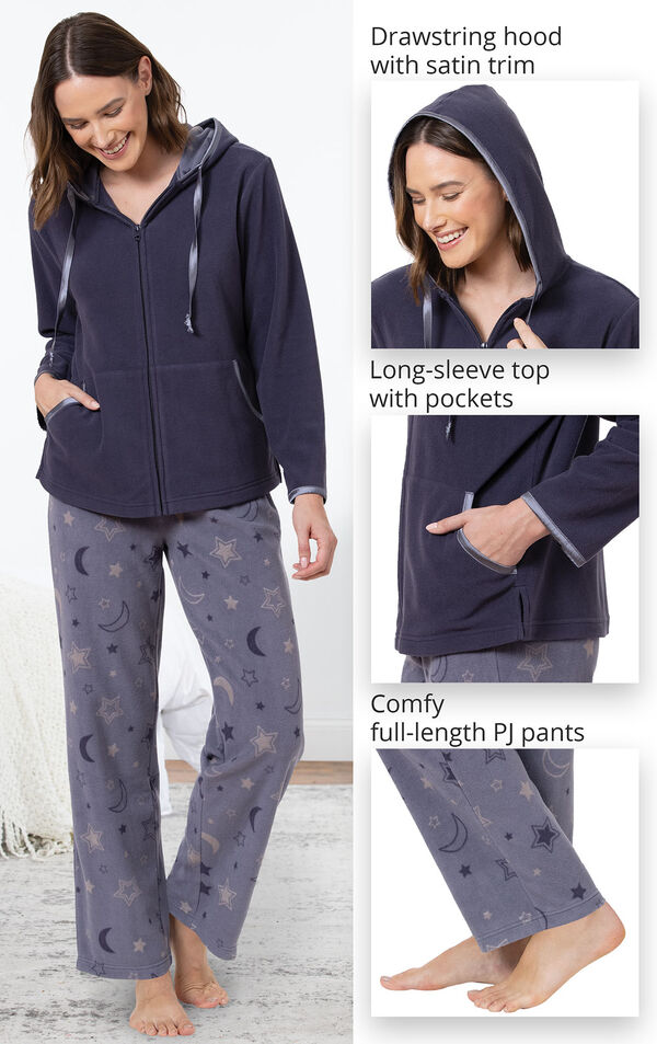 Snuggle Fleece Hoodie Pajamas image number 3