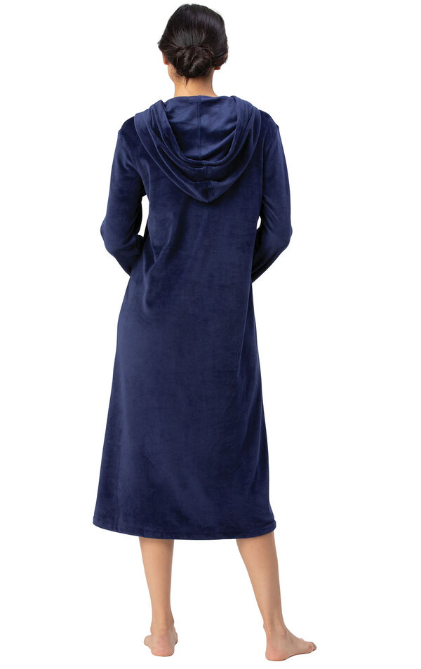 Addison Meadow|PajamaGram Hooded Nightgown - Navy image number 1