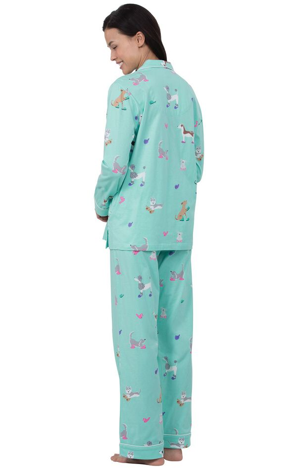 Model wearing Light Blue Dog Print Button-Front PJ for Women, facing away from the camera image number 1