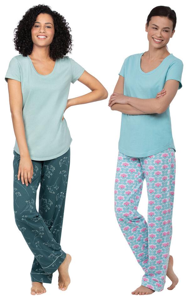 Models wearing Short-Sleeve V-Neck Pajamas - Aqua Floral and Short-Sleeve Jersey Pajamas - Green Floral Print image number 0