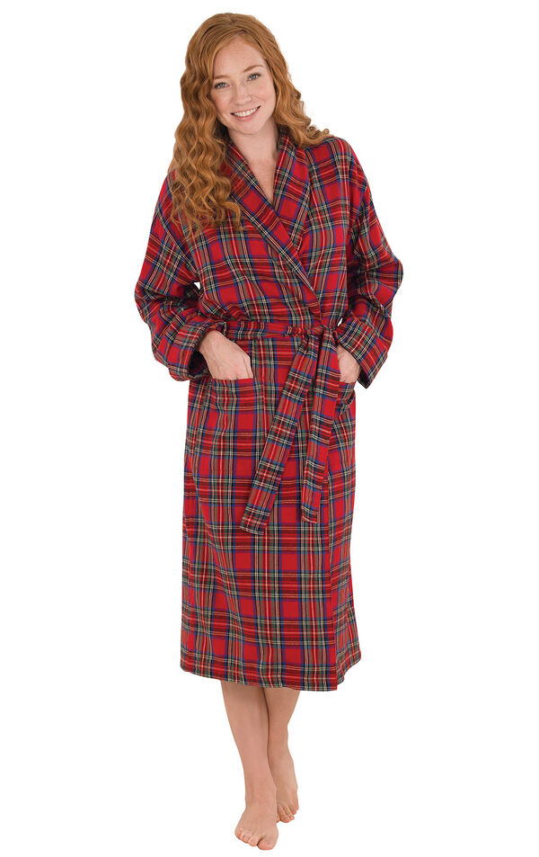 Model wearing Red Classic Plaid Wrap Robe for Women image number 0