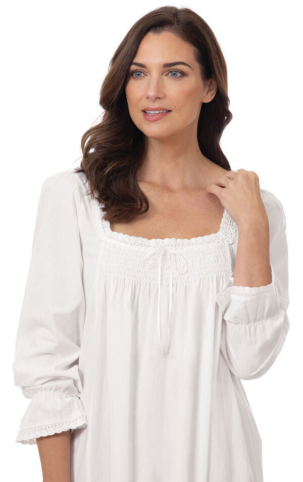 Close up of Model wearing Martha Nightgown in White for Women image number 3