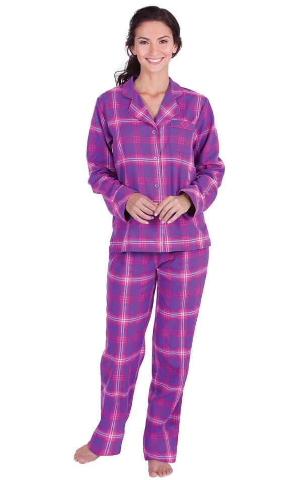 Model wearing Pink and Purple Bright Plaid Button-Front PJ for Women image number 1
