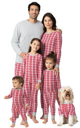 Models wearing Red and White Peppermint Twist Matching Family Pajamas image number 0
