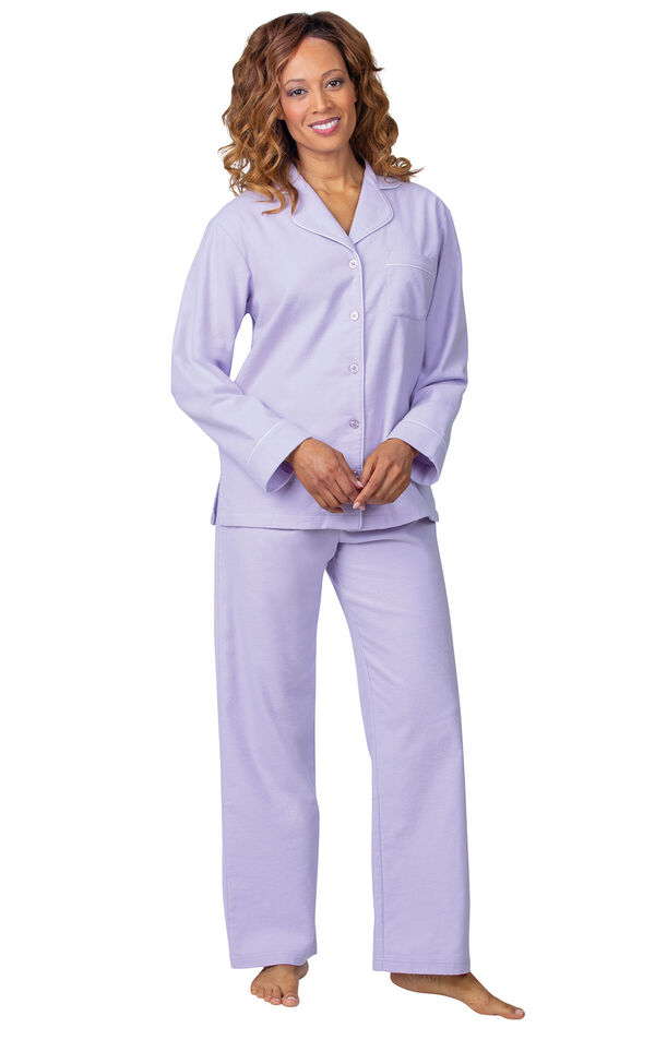 Model wearing Lavender Flannel Button-Front PJ for Women  image number 2