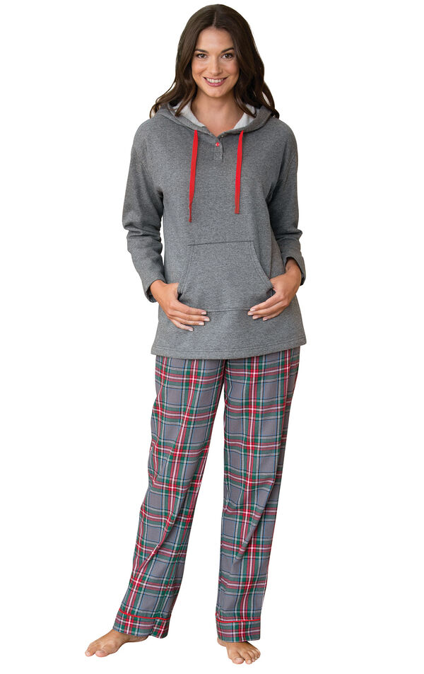 Model wearing Gray Classic Plaid Hoodie PJ for Women image number 0