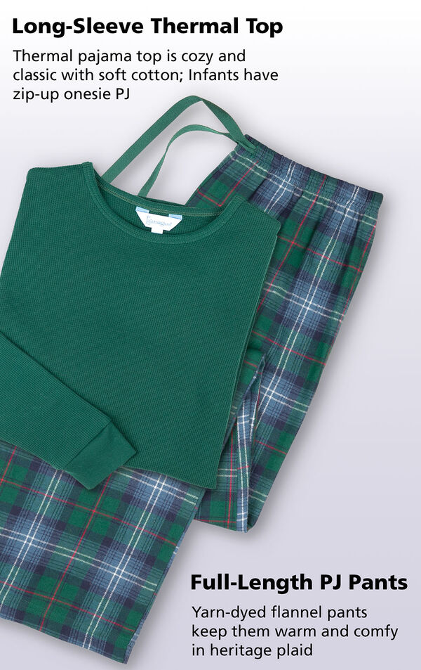 Flat shot of Heritage Plaid Thermal-Top Pajamas with the following copy: Long-sleeve thermal pajama top is cozy and classic with soft cotton; Infants have zip-up onesie PJ. Yarn=dyed flannel full-length PJ Pants keep them warm and comfy in heritage plaid. image number 3