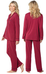 Model wearing Jersey Boyfriend Pajamas - Cabernet, facing away from the camera and then facing to the side image number 1
