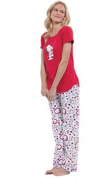Model wearing Snoopy Heart Print PJ for Women, facing to the side image number 2