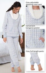 Close-ups of the features of Snow Day Shearling Rollneck Pajamas which include a cozy adjustable shearling cowl neck, convenient kangaroo pocket and cozy full-length pants image number 3