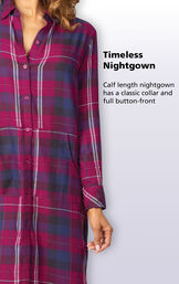 Timeless, calf length nightgown has a classic collar and full button-front and convenient kangaroo pockets image number 2
