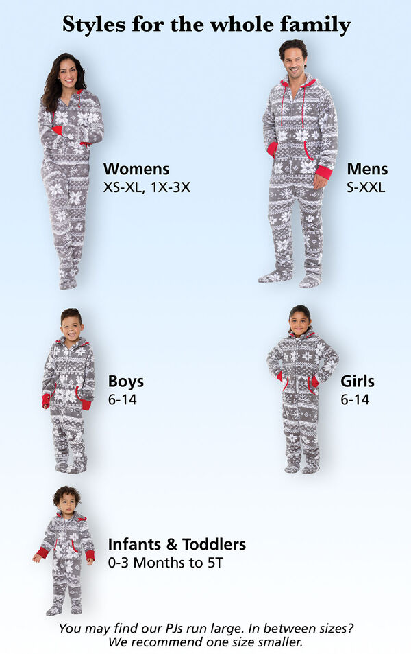 Roomy Fit Tip: You may find our PJs run large. In between sizes? We recommend one size smaller.  Womens: Sizes XS-XL, 1X-3X (Dress Sizes 2-26); Mens Sizes S-XXL, Boys and Girls Sizes 6-14, Dogs Sizes XS-XXL, Infants and Toddlers Sizes 0-3months - 5T image number 5