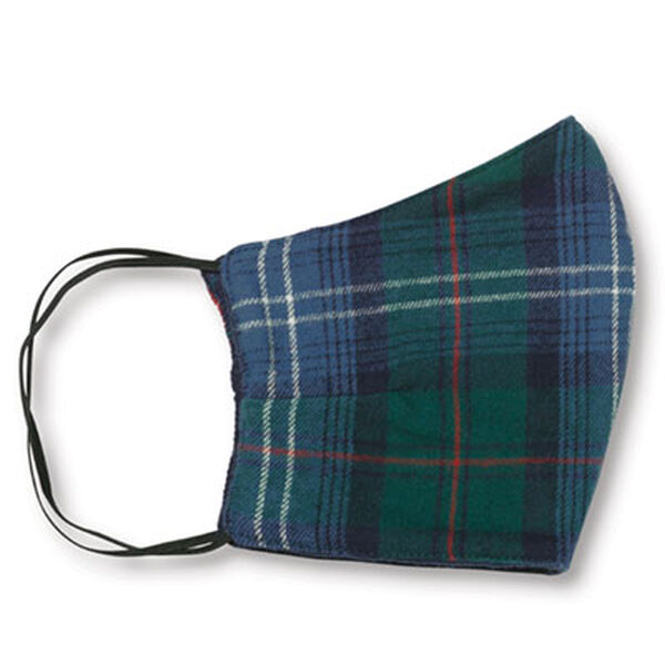 Green and Blue Plaid Face Mask image number 0