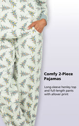 Comfy 2-Piece Pajamas - Long-sleeve Henley top and full-length pants with allover print image number 3