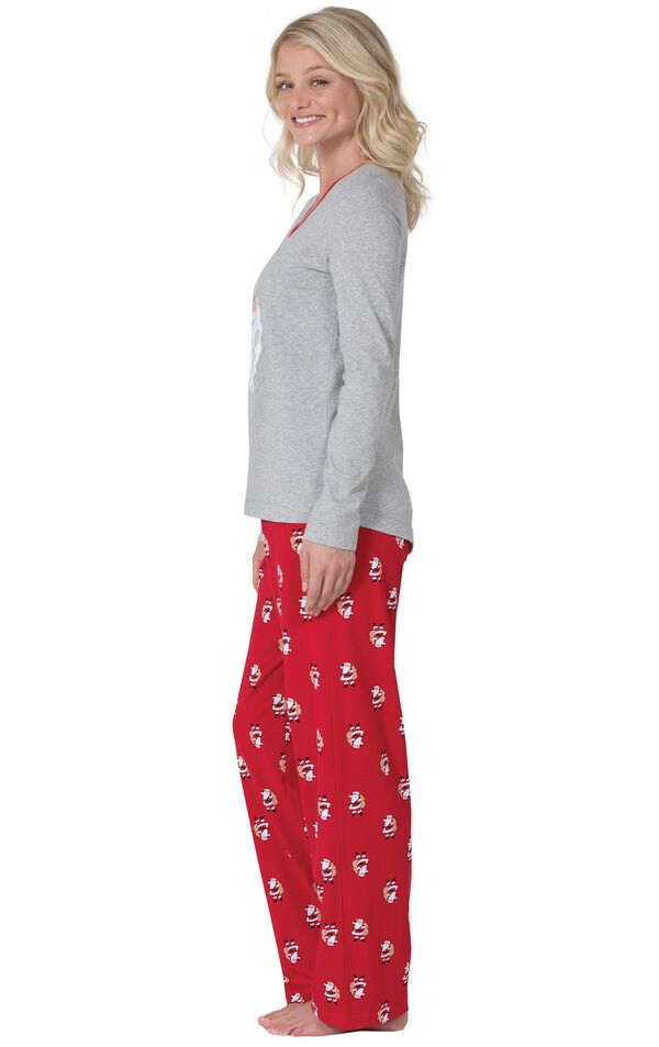 Model wearing Red and Gray Santa Print PJ for Women, facing to the side image number 2
