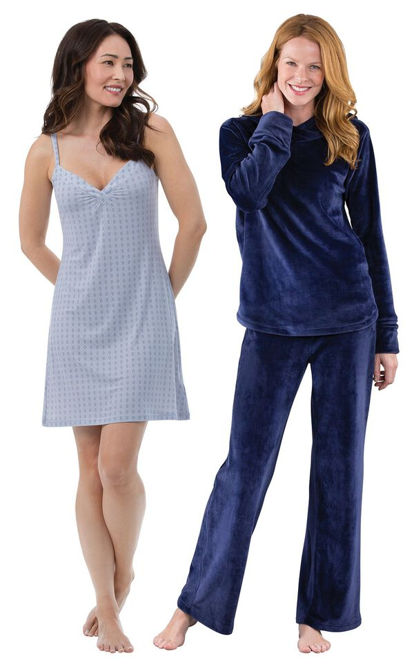 Models wearing Naturally Nude Chemise - Blue and Tempting Touch PJs - Midnight Blue. image number 0