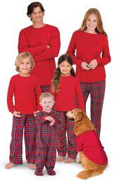 Models wearing Classic Red Stewart Plaid Matching Family Pajamas image number 0