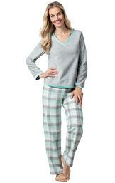Model wearing Aqua Plaid Fleece PJ for Women image number 0