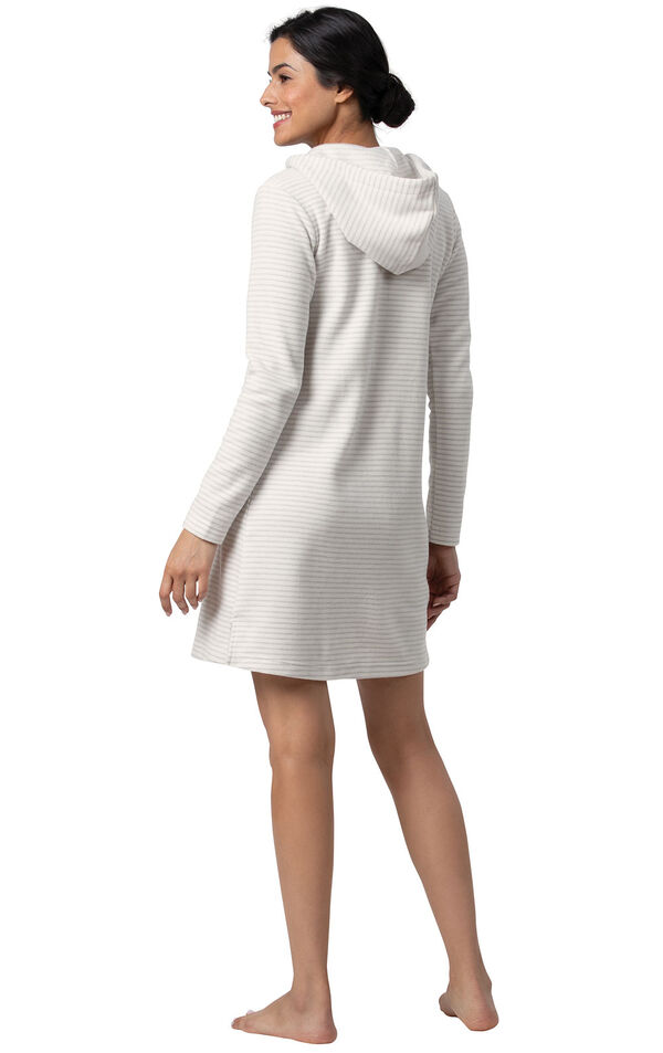 Model wearing Gray Stripe Sleepshirt with Hood for Women, facing away from the camera image number 1