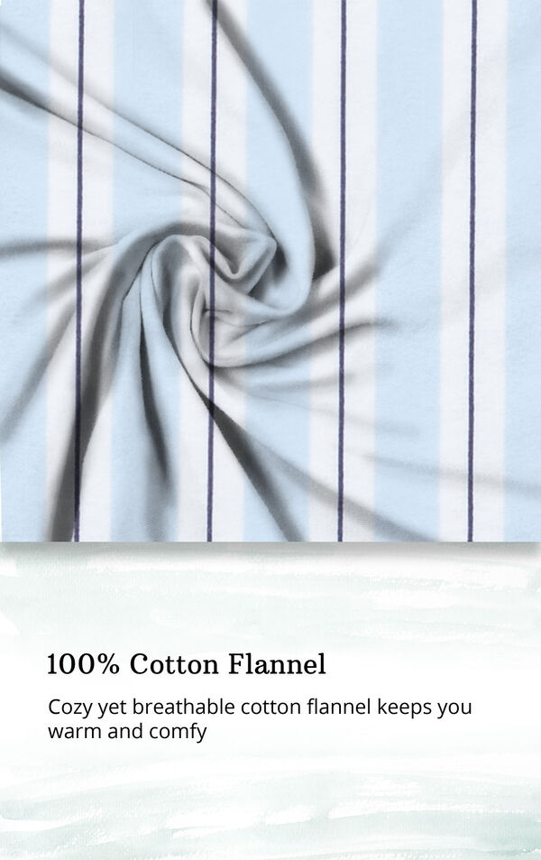 Blue Stripe Flannel Button-Front PJ for Women image number 4