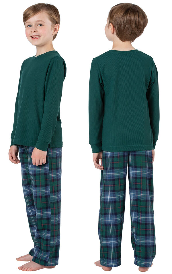 Boy wearing Heritage Plaid Thermal-Top Boys Pajamas, facing away from the camera and then facing to the side image number 1