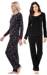 Models wearing Velour Long-Sleeve Pajamas - Black and Wine Down Pajamas. image number 0
