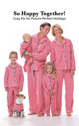 Parents and Kids wearing Red and White Striped Candy Cane Fleece Matching Family Pajamas. Headline: So Happy Together! Cozy PJs for Picture-Perfect Holidays. image number 1