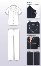 Technical drawing highlighting the following features: elastic drawstring waist, white trim, chest pocket and full button front image number 3