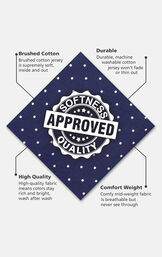 Navy and white Polka-Dot fabric swatch with the following copy: Brushed cotton jersey is supremely soft. Machine washable cotton jersey won't thin. High-quality fabric means colors stay bright. Comfy mid-weight fabric is breathable. image number 4