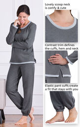 Close-Ups of World's Softest Jogger PJs features which include a lovely scoop neck, contrast trim that defines the cuffs, hem and neck and Elastic pants cuffs that create a fit that stays with you image number 4