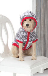 Dog wearing Nordic Fleece Hoodie-Footie for dogs, with the hood up image number 1