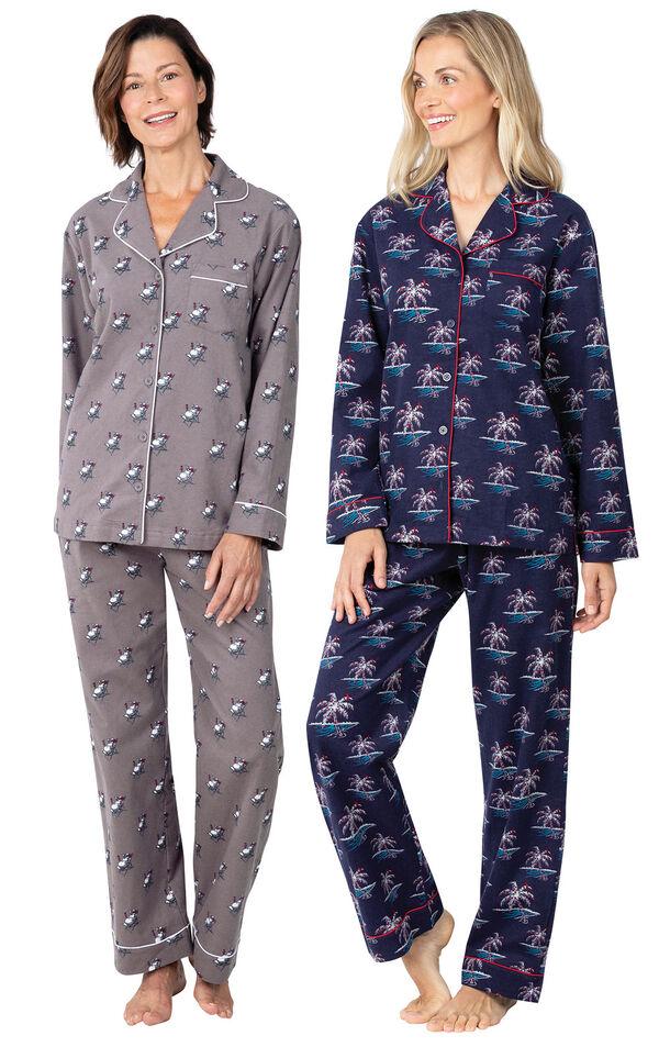 Models wearing Margaritaville Flannel Boyfriend Pajamas - Sunny Snowman and Margaritaville Flannel Boyfriend Pajamas - Christmas Palm Trees. image number 0