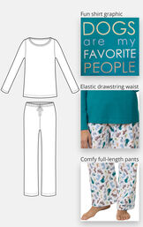 """""""Dogs are my favorite"""" pajamas feature a fun shirt graphic that says Dogs are My Favorite People, an elastic drawstring waist and comfy full-length pants image number 3"""