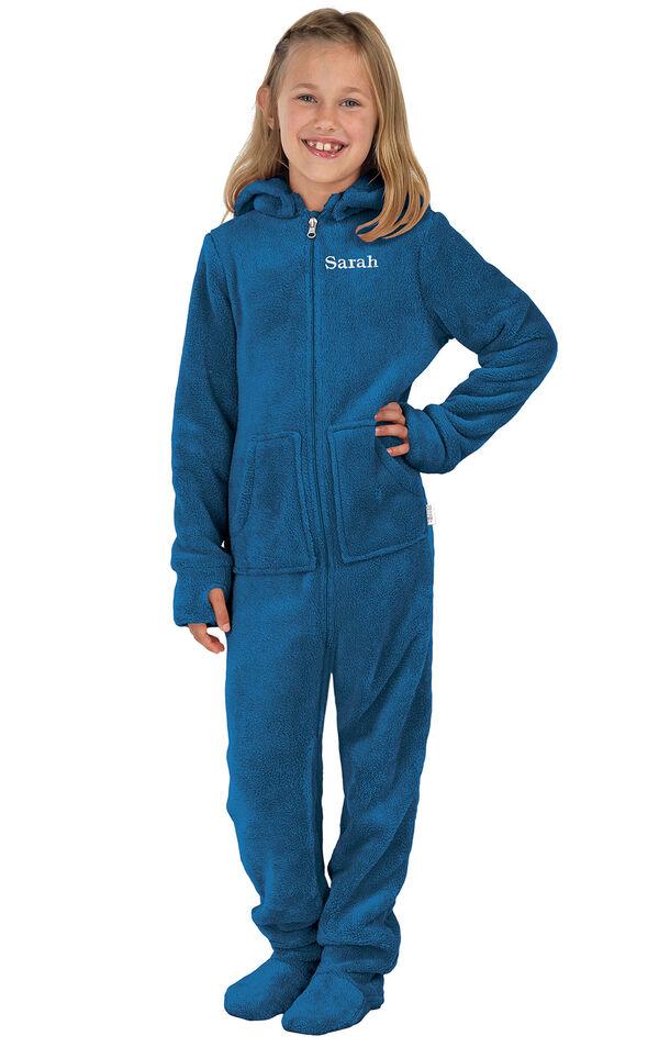 Model wearing Hoodie-Footie - Blue Fleece for Girls image number 0