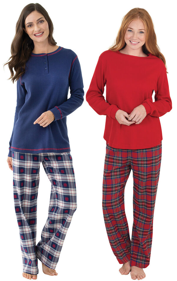 Models wearing Snowfall Plaid Pajamas and Stewart Plaid Thermal-Top Pajamas. image number 0