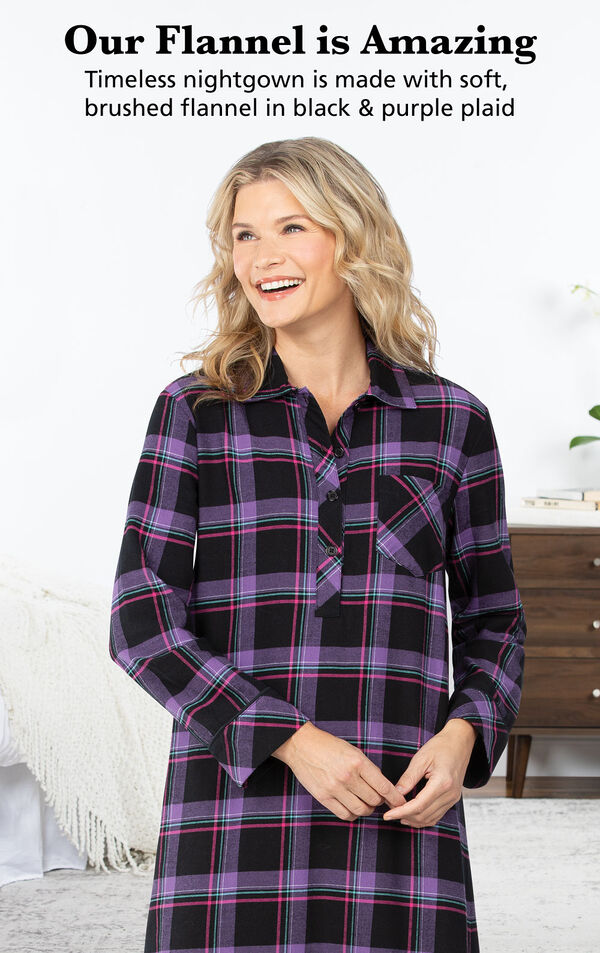 Model wearing Modern Plaid Flannel Nightgown with the following copy: Timeless nightgown is made with soft, brushed flannel in black and purple plaid image number 2