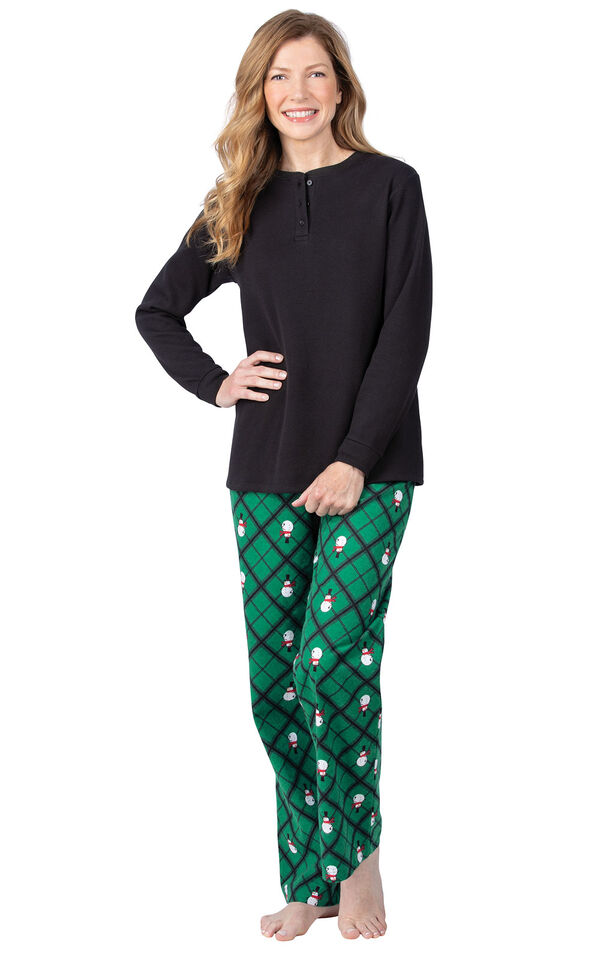 Model wearing Black and Green Snowman Argyle Henley PJ for Women image number 0