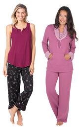 Models wearing Wine Down Tank Capri Pajamas and World's Softest Pajamas - Raspberry. image number 0