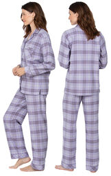 Model wearing Lavender Plaid Button-Front PJ for Women, facing away from the camera and then to the side image number 1