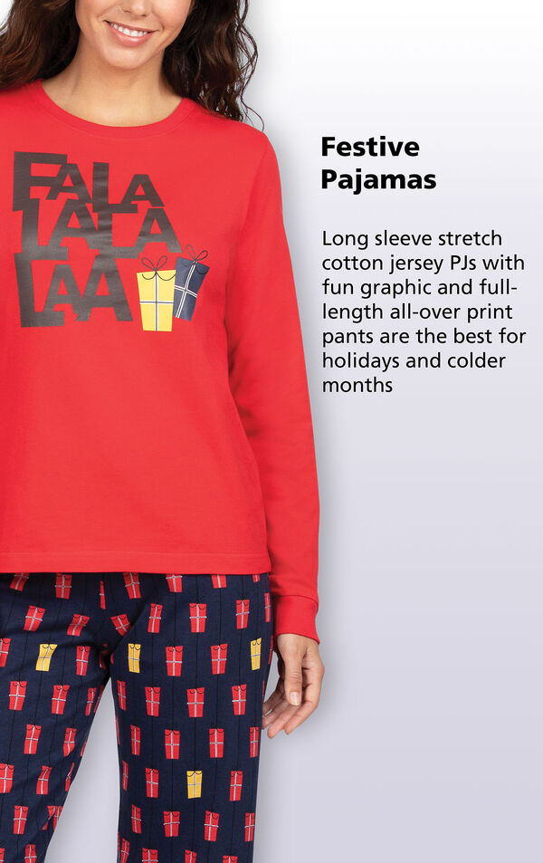 Festive Pajamas - Long sleeve stretch cotton jersey PJs with fun graphic and full-length all over print pants are the best for holidays and colder months image number 2