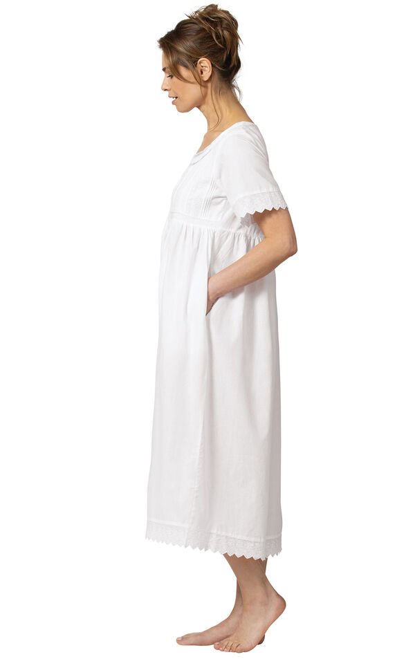 Model wearing Helena Nightgown in White for Women, facing to the side image number 2